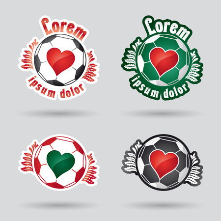 vegetal: classic football (ball) with heart in the middle