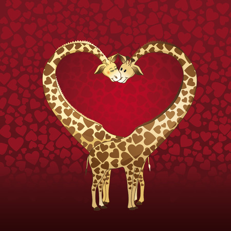 Big heart formed by a giraffe