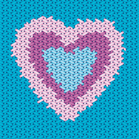 Valentine day design based on embroidery and woven pattern