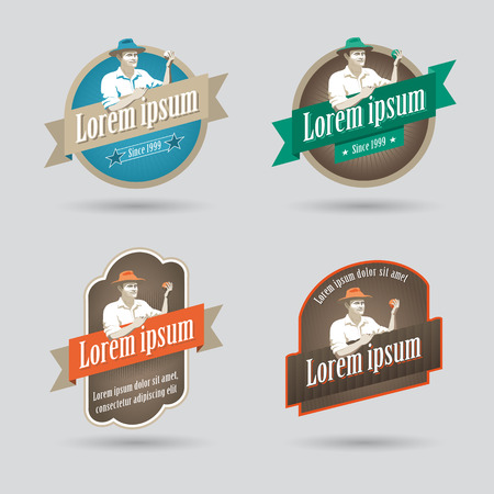 old farmer: Label or icon for fruit based products