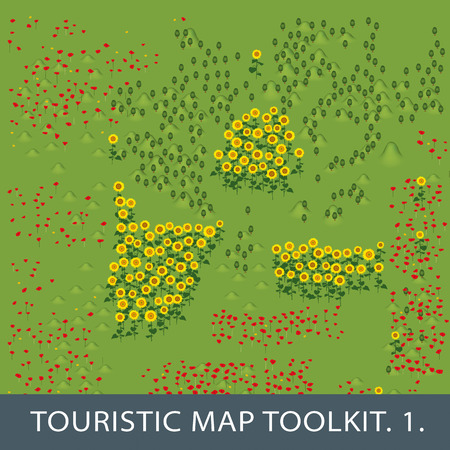 map toolkit: set of natural elements for touristic map. first et. Illustration