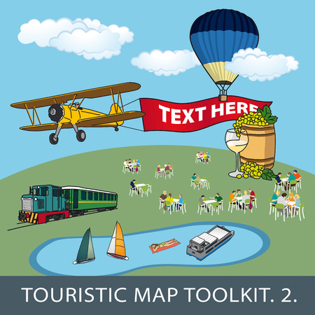 train table: toolkit no. 2 for touristic map with different objects and elements Illustration