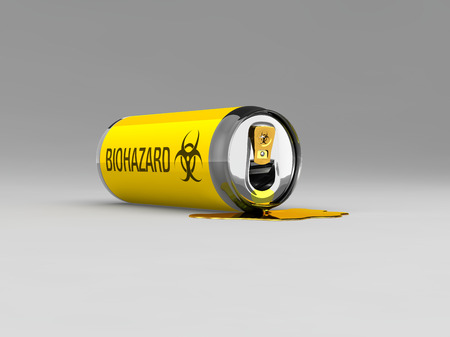 Gevaarlijke, giftige stof lekt uit een blikje Stockfoto