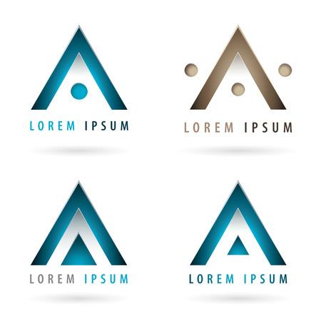 Set of dynamic logos with arrow or triangle shape