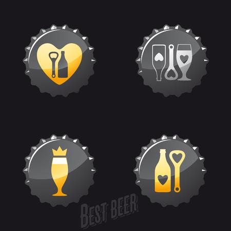 Bier und Pub-Symbole, Zeichen, Symbole und Design-Elemente gesetzt