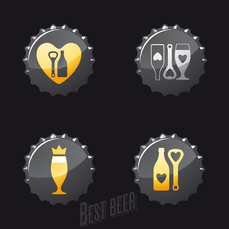 Beer and pub icons, signs, symbols and design elements set