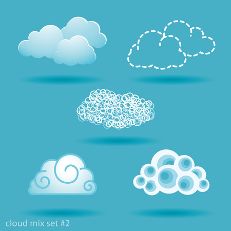 spot the difference: set of different types of clouds. No.2 Illustration