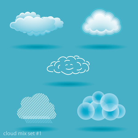 spot the difference: set of different types of clouds. No.1 Illustration