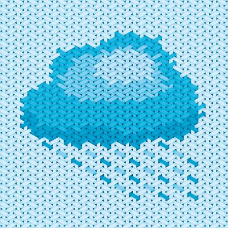 homespun: Ilustraci�n de la nube basado en el bordado de tela y modelo, de andar por casa Vectores