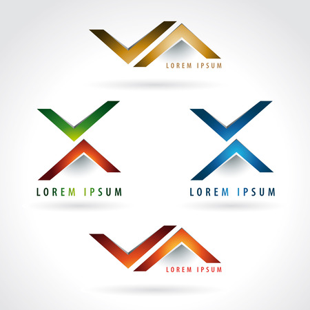 design office: Letter X and arrow shaped logo icon design template elements