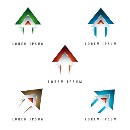 arrow icon: dynamic arrow shaped design element with emboss and 3d effect Illustration