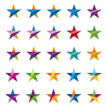crystalline: crystalline star set in many color and shape versions Illustration