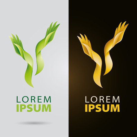 Cosmetic and beauty services plantlike organic logo with leaf hands and fingers Illustration