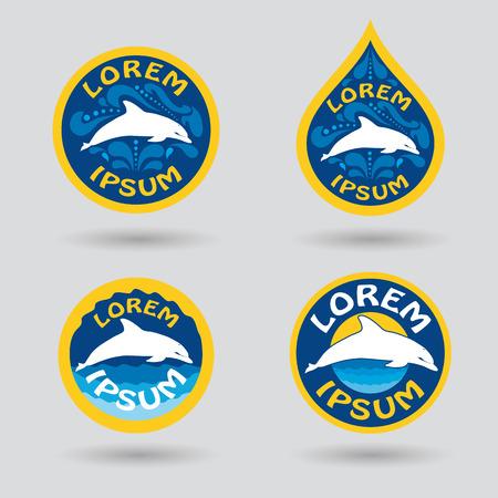 delfin: basen lub klub sportowy logo zestaw z delfinem i krople wody Ilustracji
