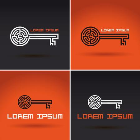 Key shaped labyrinth, maze abstract logo design