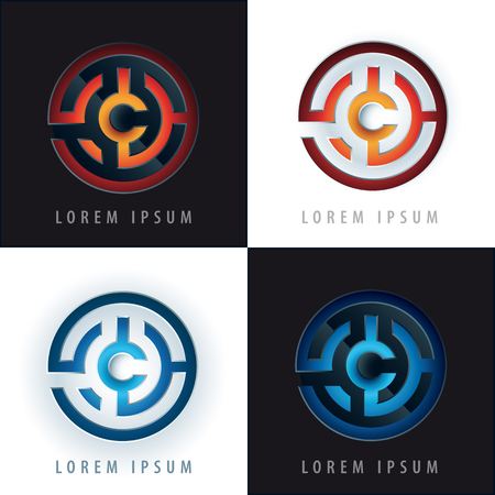 emboss: labyrinth logo design with 3D, emboss effect
