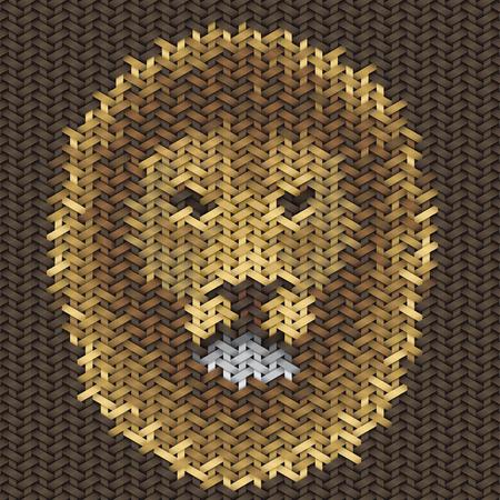 trabajo manual: bordado trabajo hecho a mano de león cabeza en modelo de la tela Vectores