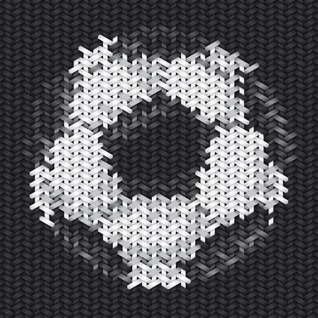 handwork: soccer or european football ball embroidery handwork on fabric Stock Photo