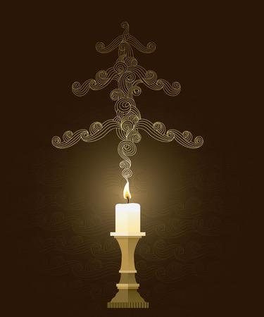 candleholder: Elegant smoky christmas card with wavy, cloudy motives Stock Photo