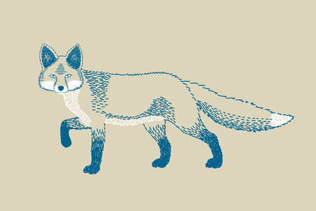 watchful: Monochromatic fox drawing