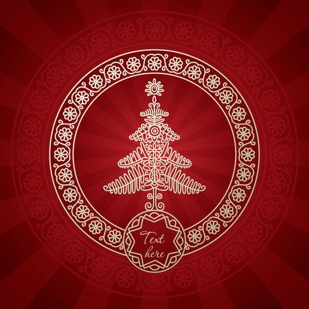 folk art: Christmas greeting card with folk art inspiration Stock Photo