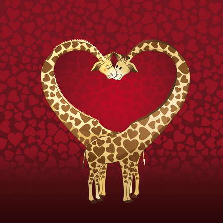 Big heart formed by a giraffes couple, designed for a Valentines day card.