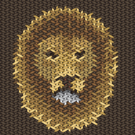 trabajo manual: bordado trabajo hecho a mano de león cabeza en modelo de la tela Foto de archivo