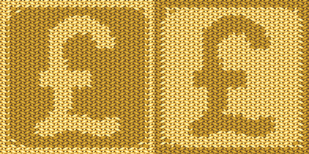 sterlina: British Sign sterlina, simbolo sul ricamo