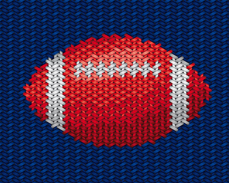 handwork: american football ball embroidery handwork on fabric