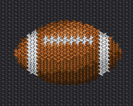 playoff: american football ball embroidery handwork on fabric