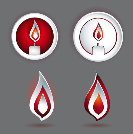 emboss: candle concept design with various shapes in 3D or emboss style Illustration