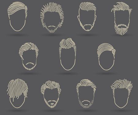hair style set: hand drawing mans hair style set for hairdresser design