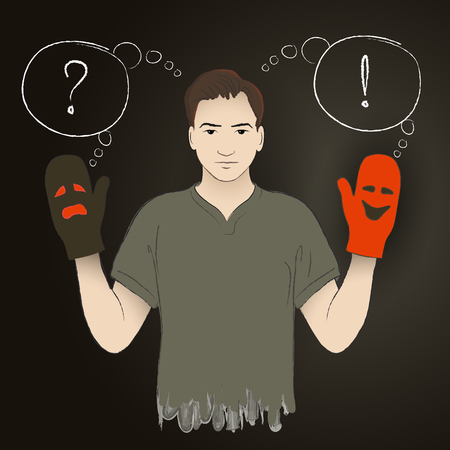 puppetry: young man holding puppetry gloves with dramatic crying and laughing faces, and asking important questions Illustration