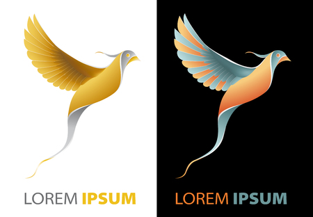 fancy design: flying golden bird fancy, luxurious company logo concept in origami design style Stock Photo