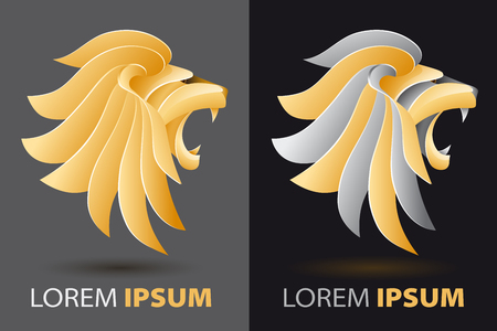 screaming head: bellowing lion head fancy, luxurious company icon concept in origami design style