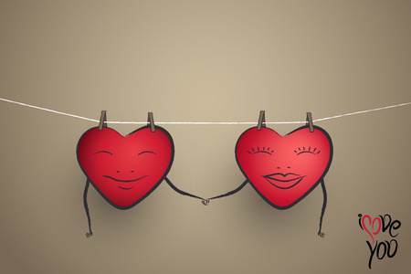 liking: hand drawing heart couple hanging on a clothesline holding each other hands Stock Photo