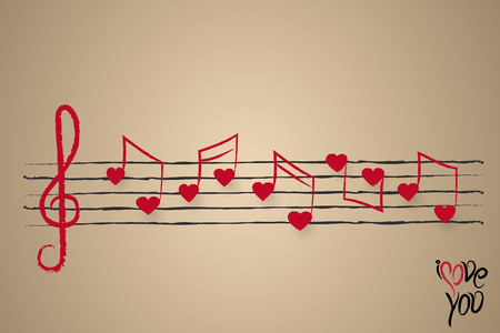 valentine musical note: wedding card or holiday greeting design with sheet music with heart shaped musical notes