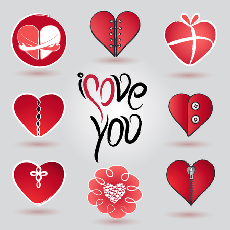 different hearts icon and icon design set for valentines day