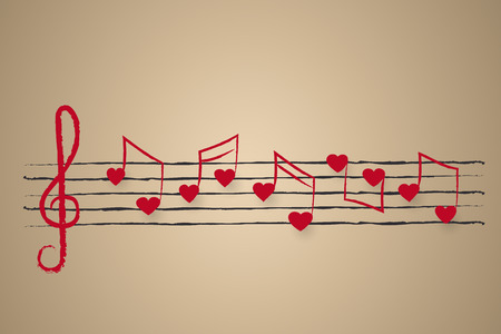 wedding card or holiday greeting design with sheet music with heart shaped musical notes