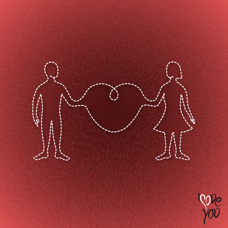 man and woman linked organically through a big heart in a light ray