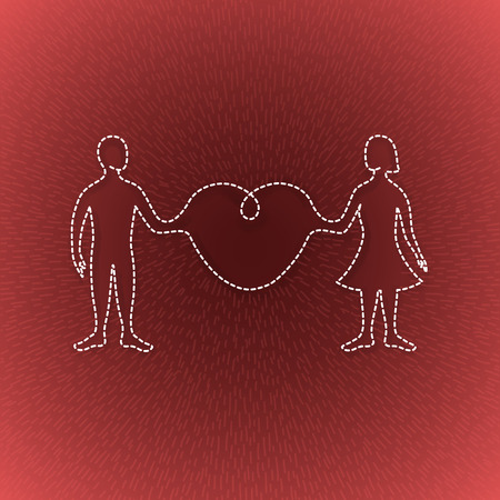 ray light: man and woman linked organically through a big heart in a light ray
