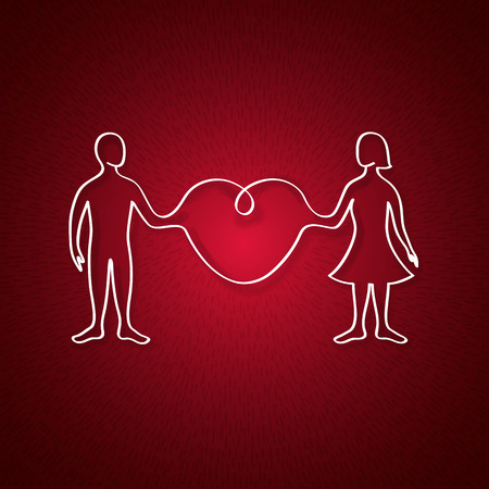 tree linked: man and woman linked organically through a big heart in a light ray