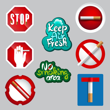negative area: realistic or 3d effect no smoking icon set created from traffic signs