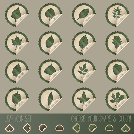 deciduous: deciduous tree leaf icon set in stamp shape, with choosable colors and shapes