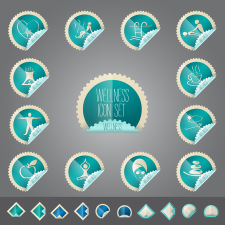 wellness theme icon set - tollkit - placed in realistic stamp shape label illustration Ilustrace