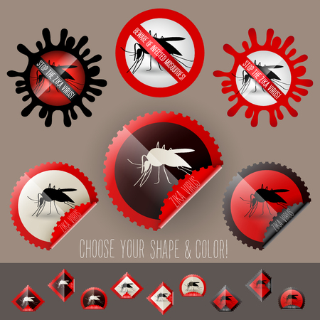 birth control: infected mosquitoe icon awareness set in stamp shape, with colors and shapes to choose
