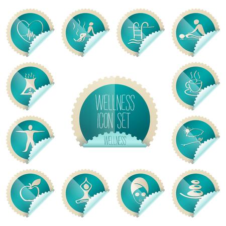 wellness theme icon set - tollkit - placed in realistic stamp shape label illustration Reklamní fotografie