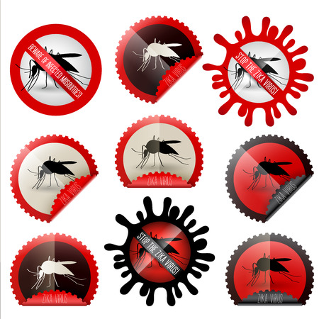 ail: infected mosquitoe icon awareness isolated set in stamp shape, with colors and shapes to choose