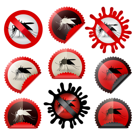 infected mosquitoe icon awareness isolated set in stamp shape, with colors and shapes to choose