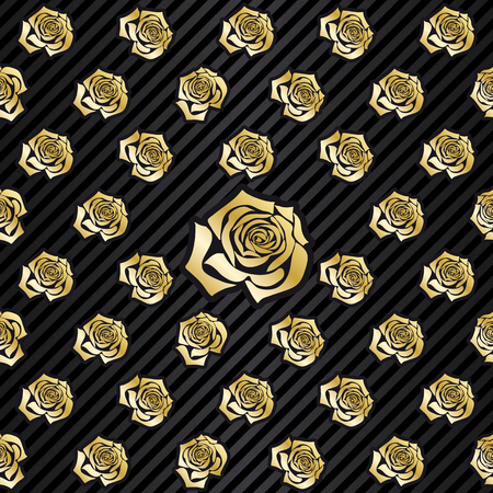 wallpaper pattern illustration or packaging with repeating, seamless golden rose decoration elements